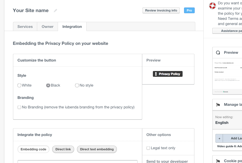 Edit Privacy Policy - Privacy & Cookie Policy Generator | iubenda 3