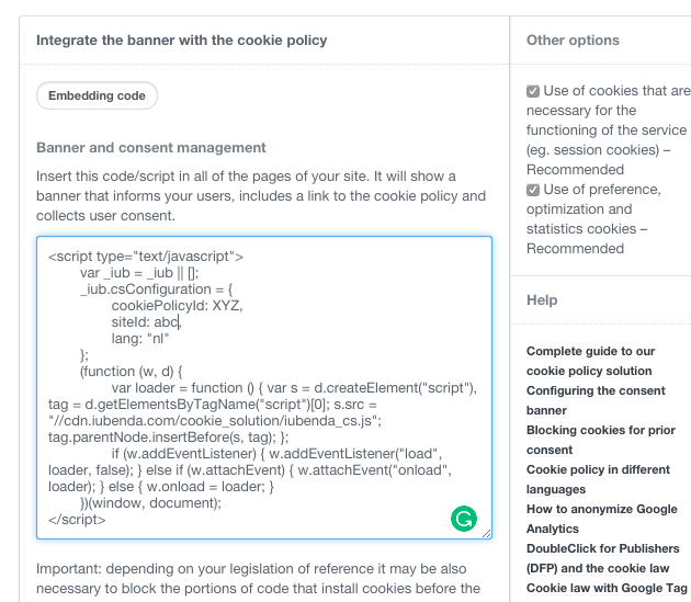 Edit Privacy Policy - Privacy Policy Generator | iubenda