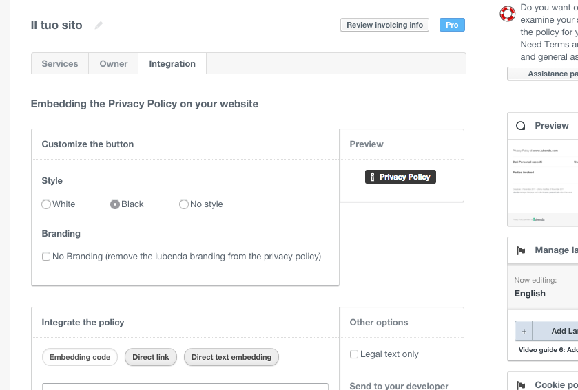 Edit Privacy Policy - Privacy & Cookie Policy Generator | iubenda