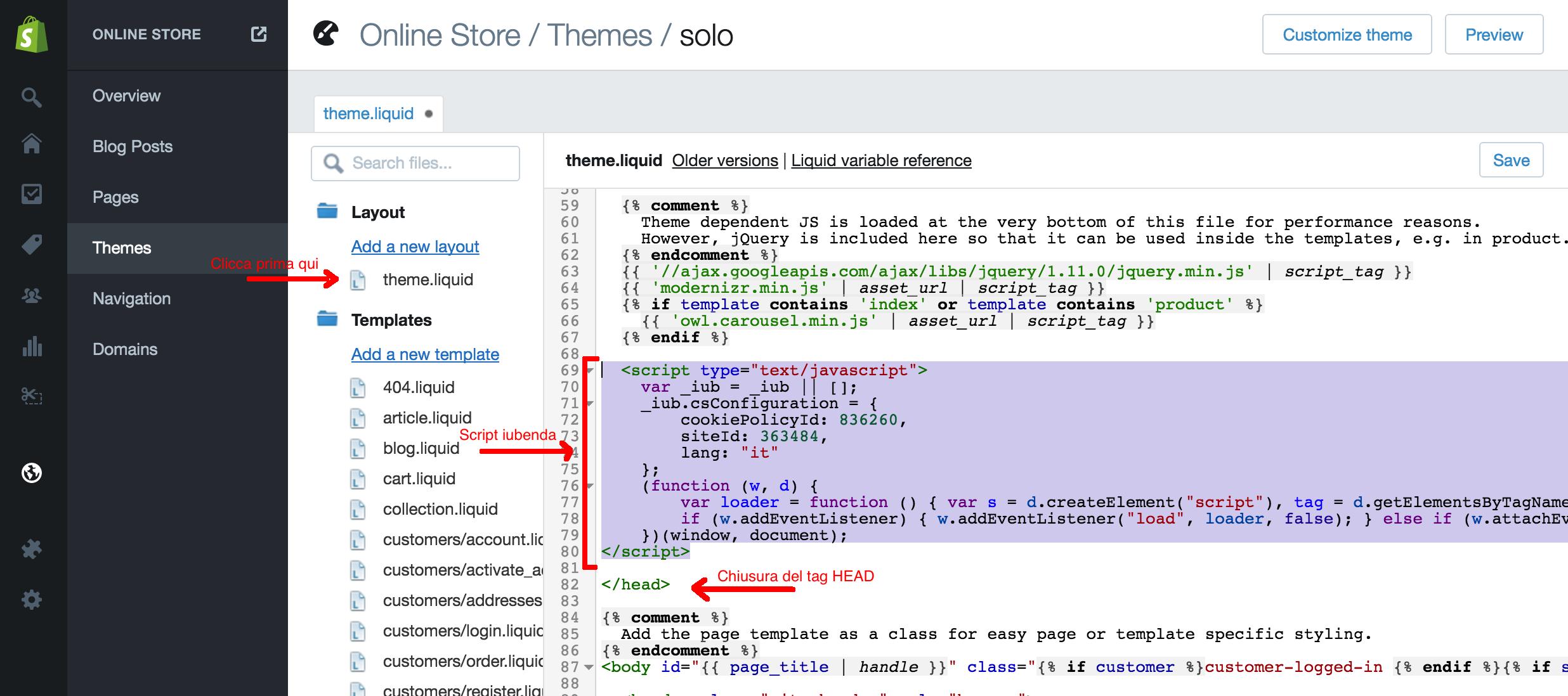Shopify + iubenda : Customize Add iubenda codes