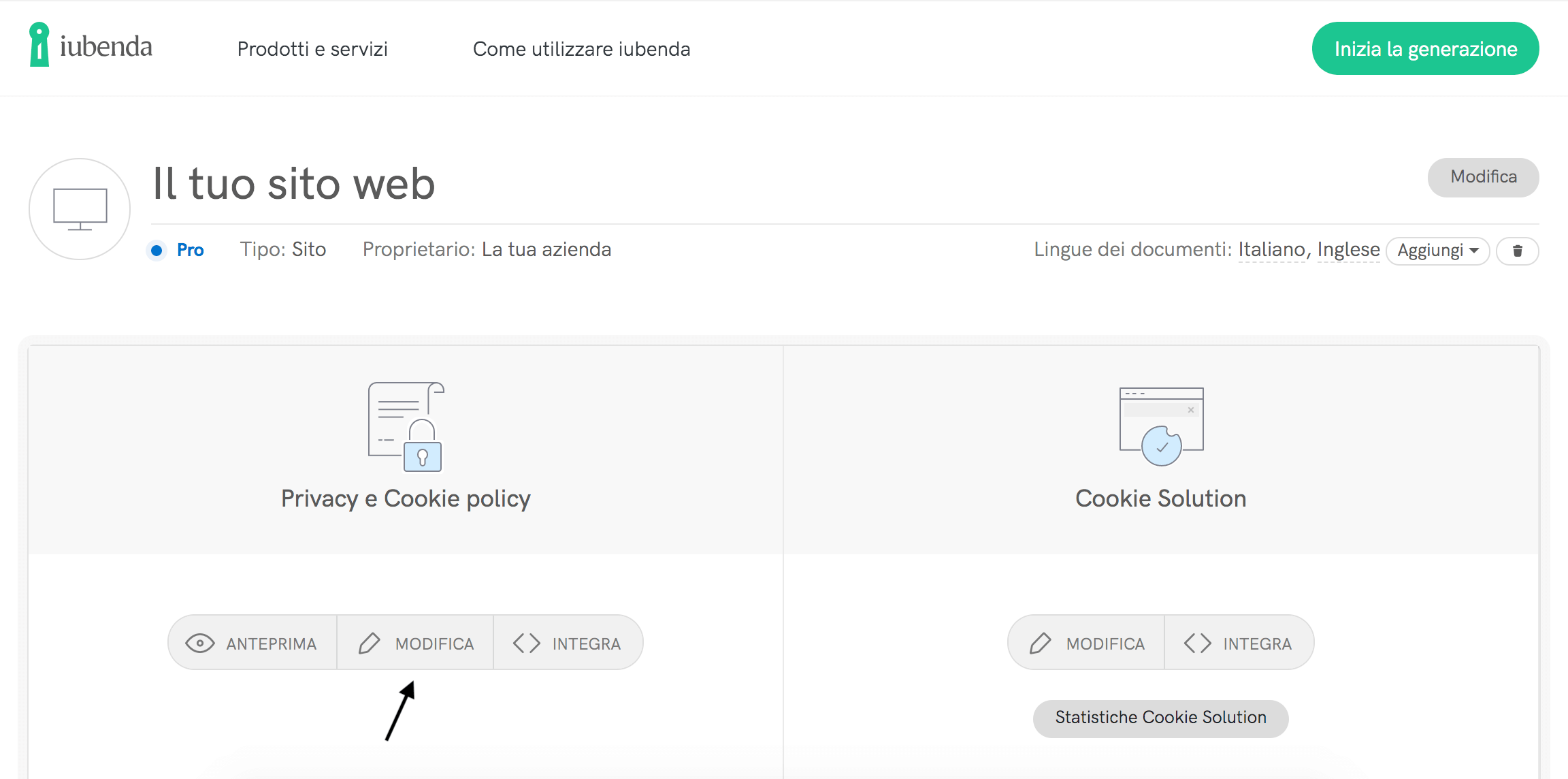Modifica la tua Privacy e Cookie Policy