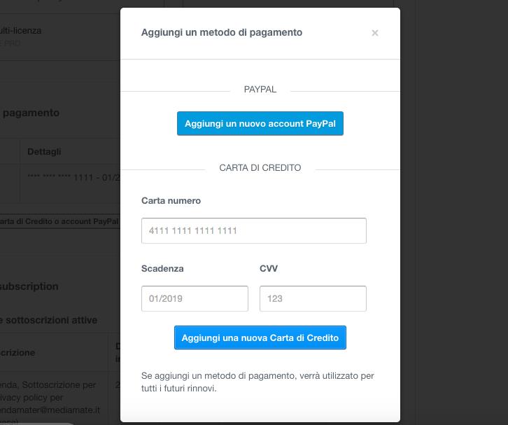 Aggiungere una nuova Carta di Credito o un account PayPal