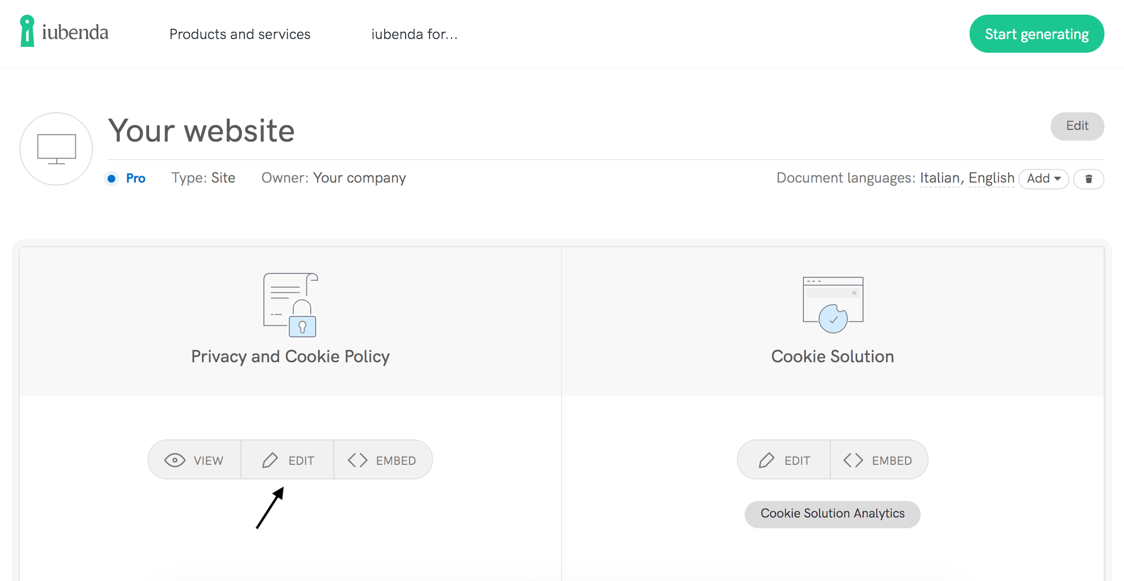 Edit your Privacy and Cookie Policy