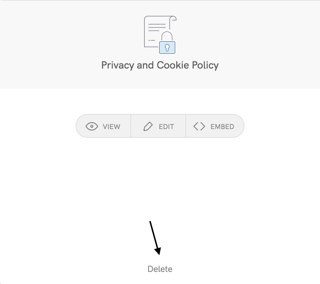 Clicca su Elimina nella finestra relativa alla Privacy e Cookie Policy