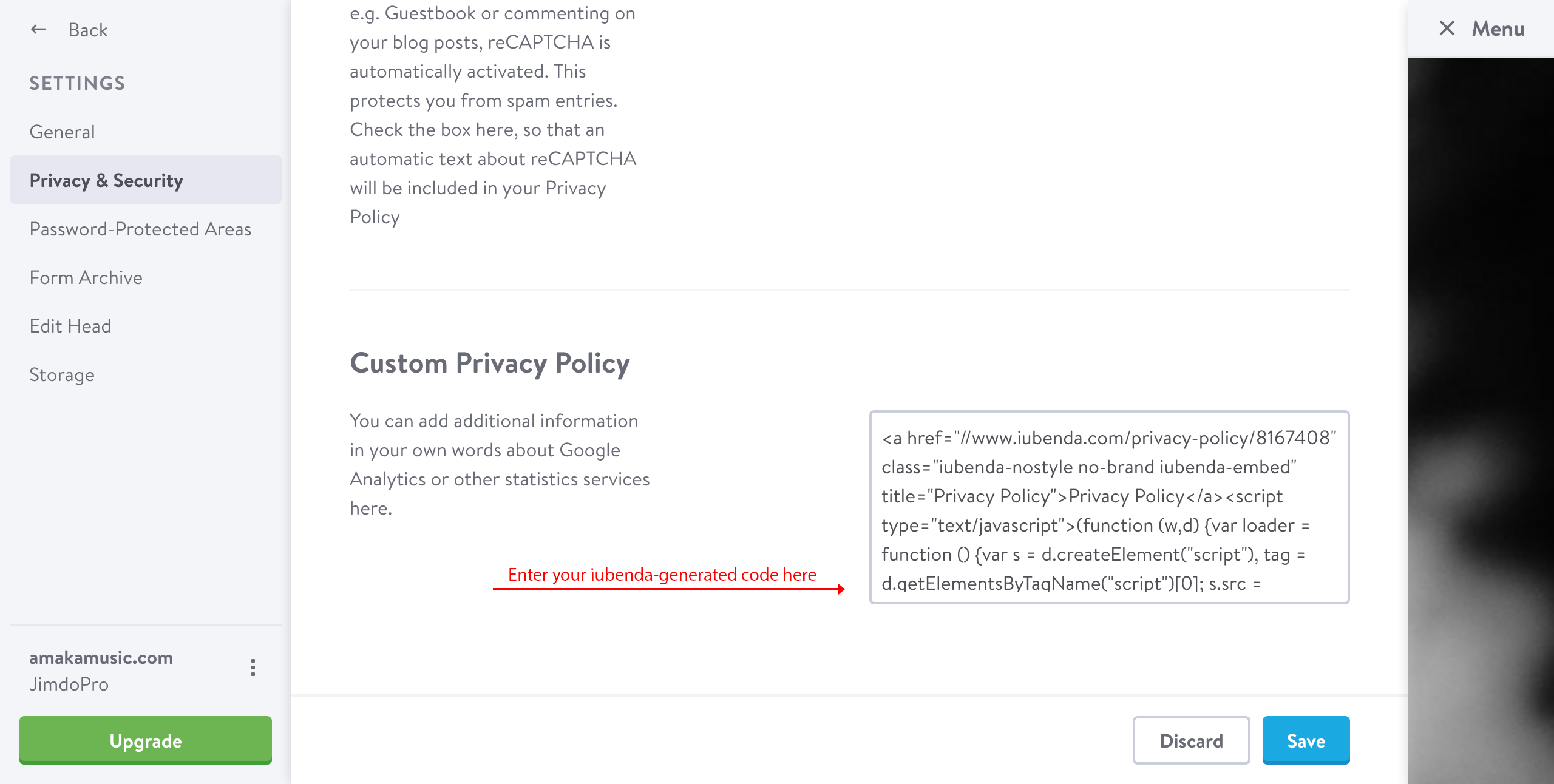 this is where you paste your privacy policys embedding code as shown in the example below