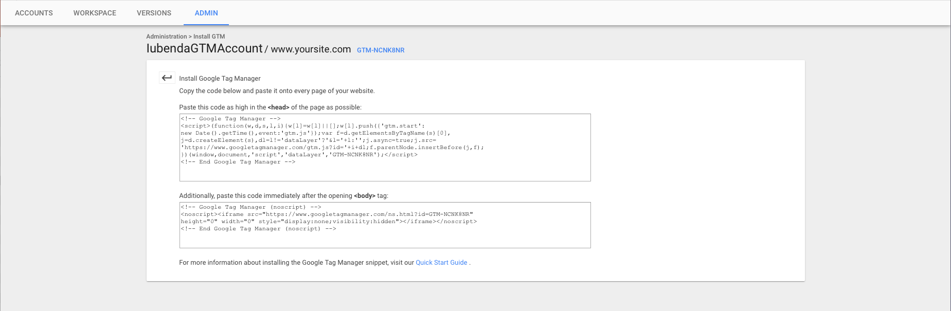 Google Tag Manager - Installation