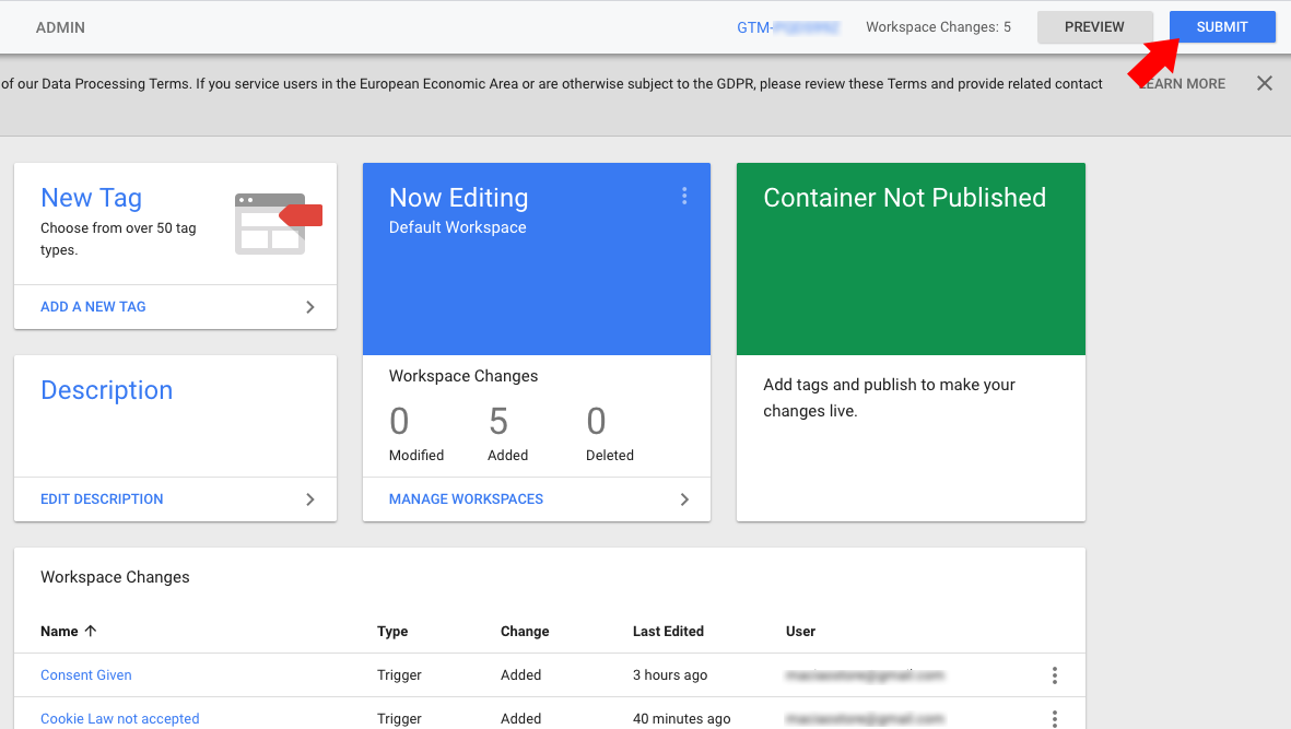 Google Tag Manager - Publish container