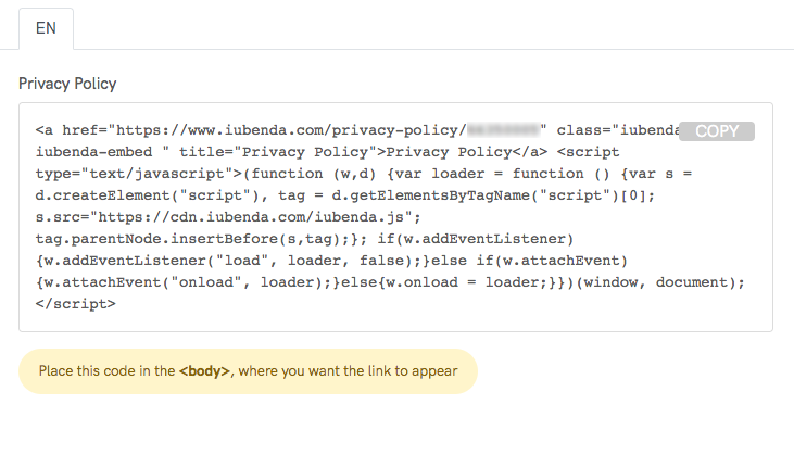 Privacy policy sample embed code