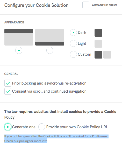 Make sure that generate cookie solution is not selected in the Cookie Solution configurator