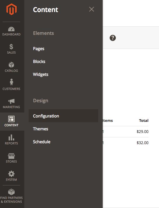 magento admin content configuration panel