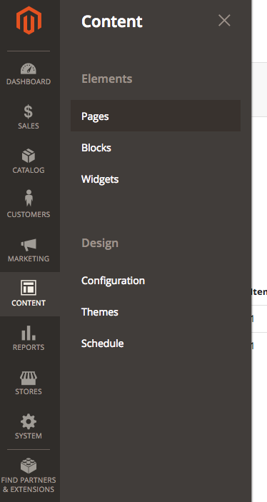 Magento content pages panel