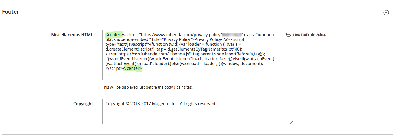 How to paste the iubenda code into the magento footer