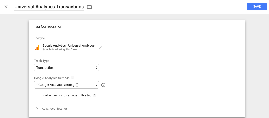 Google Analytics transaction Tag GTM