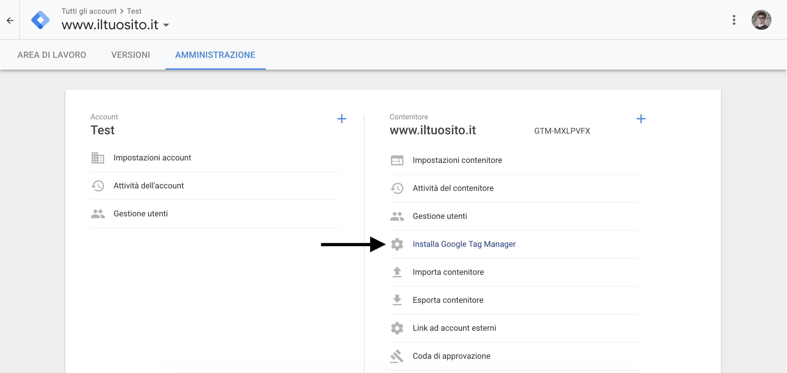 Google Tag Manager - Amministrazione