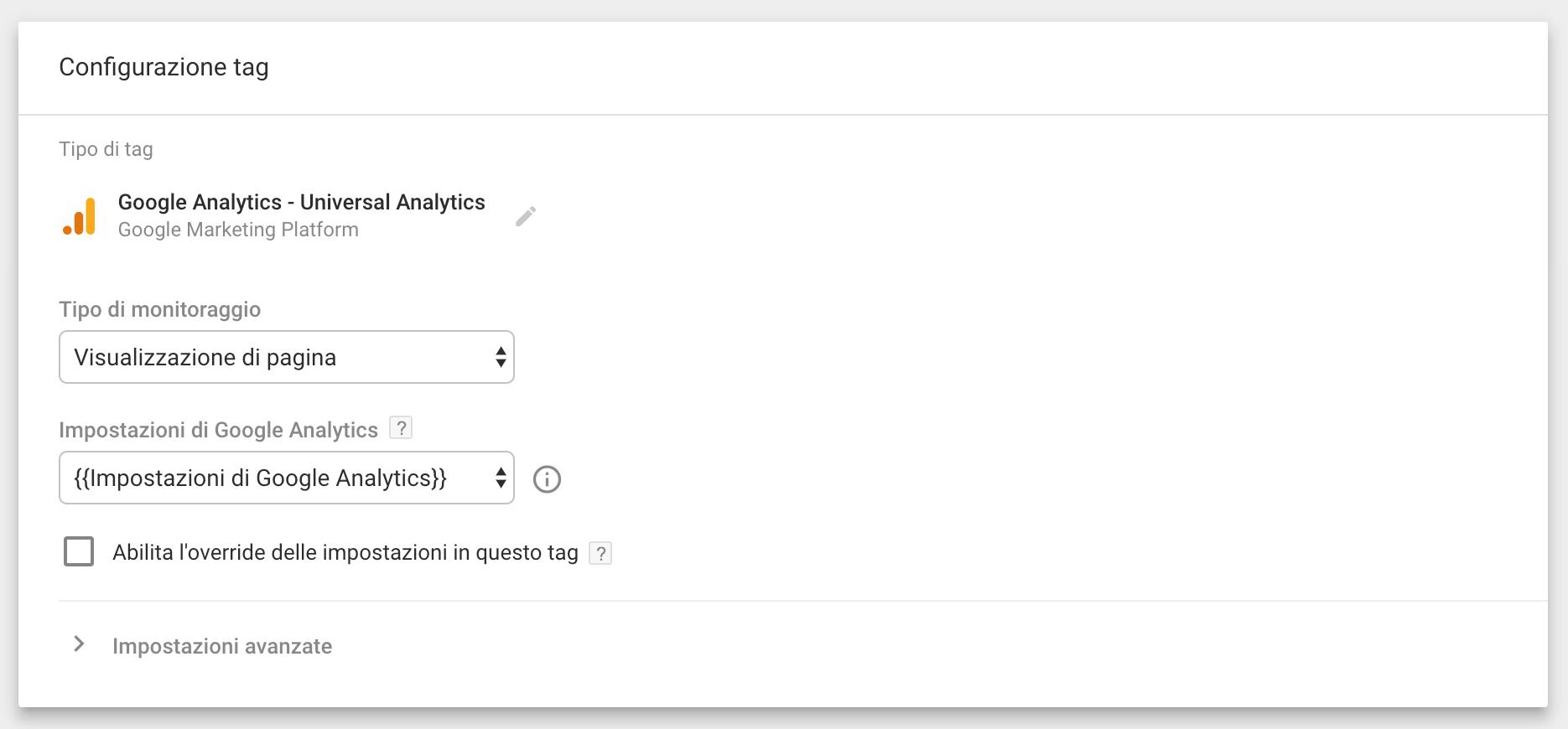 Google Tag Manager - Visualizzazione di pagina