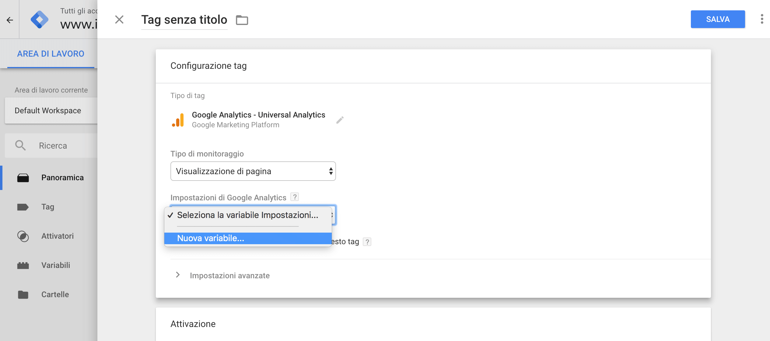Google Tag Manager - Nuova variabile