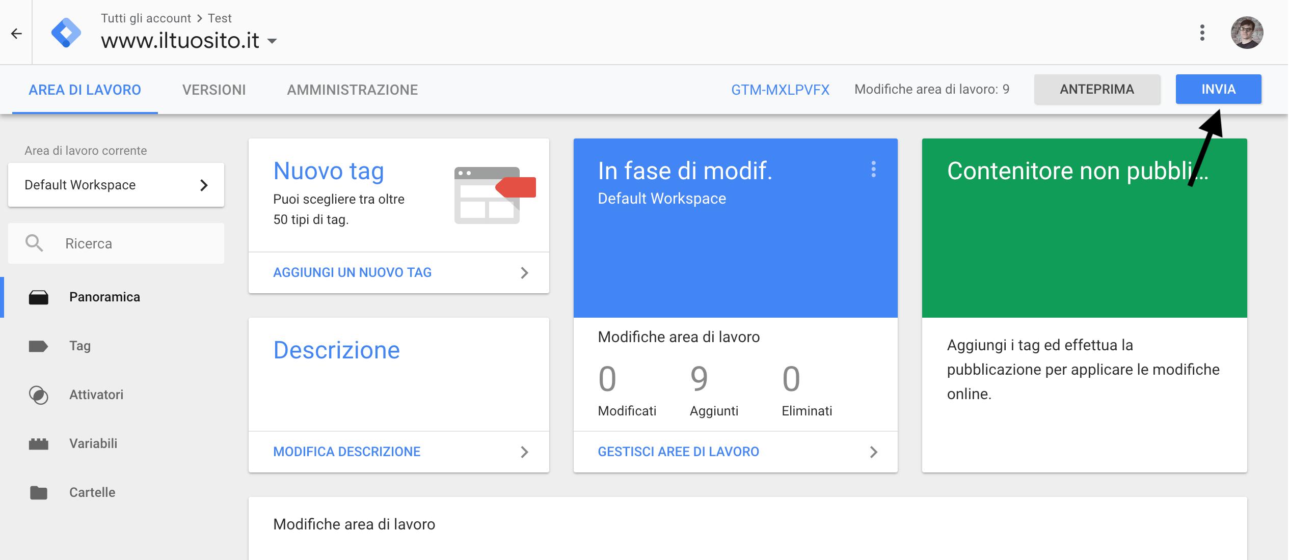 Google Tag Manager - Pubblica il contenitore