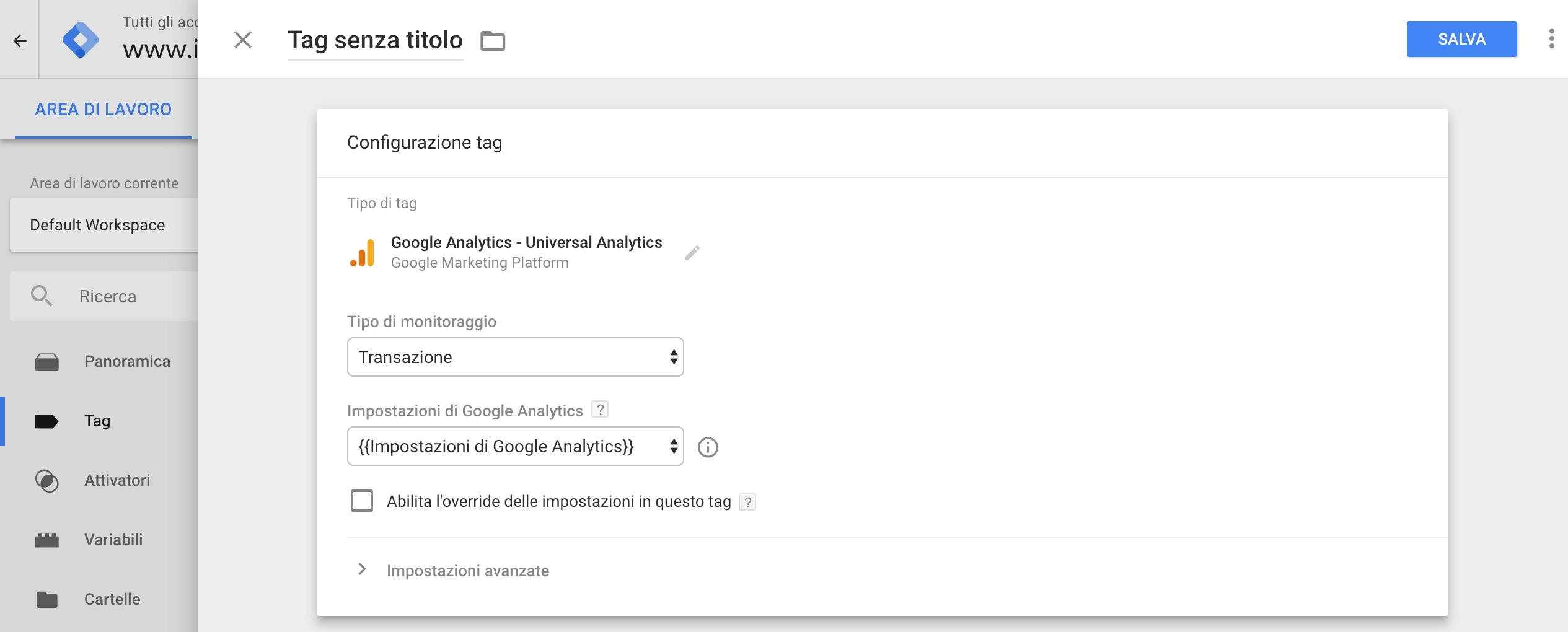 Google Tag Manager - Configurazione tag transazione