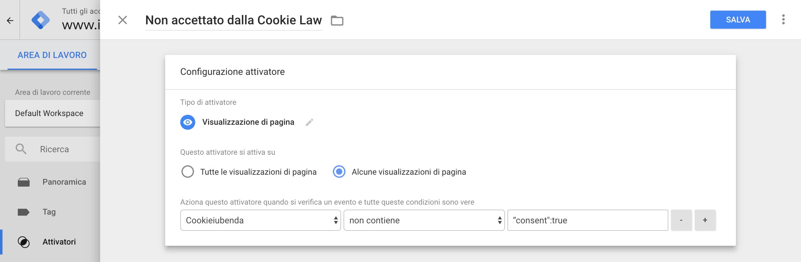 Google Tag Manager - Configurazione attivatore