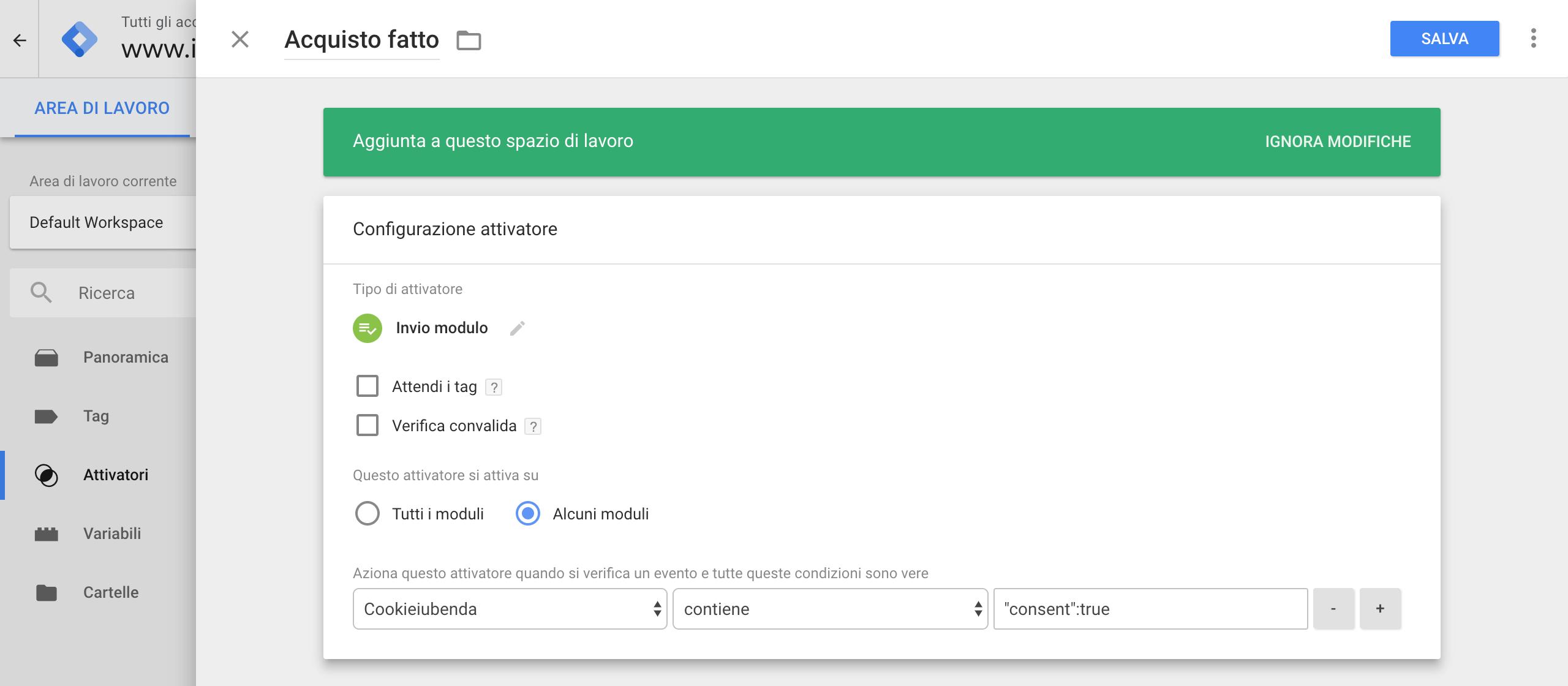Google Tag Manager - Attivatore 'Invio modulo'