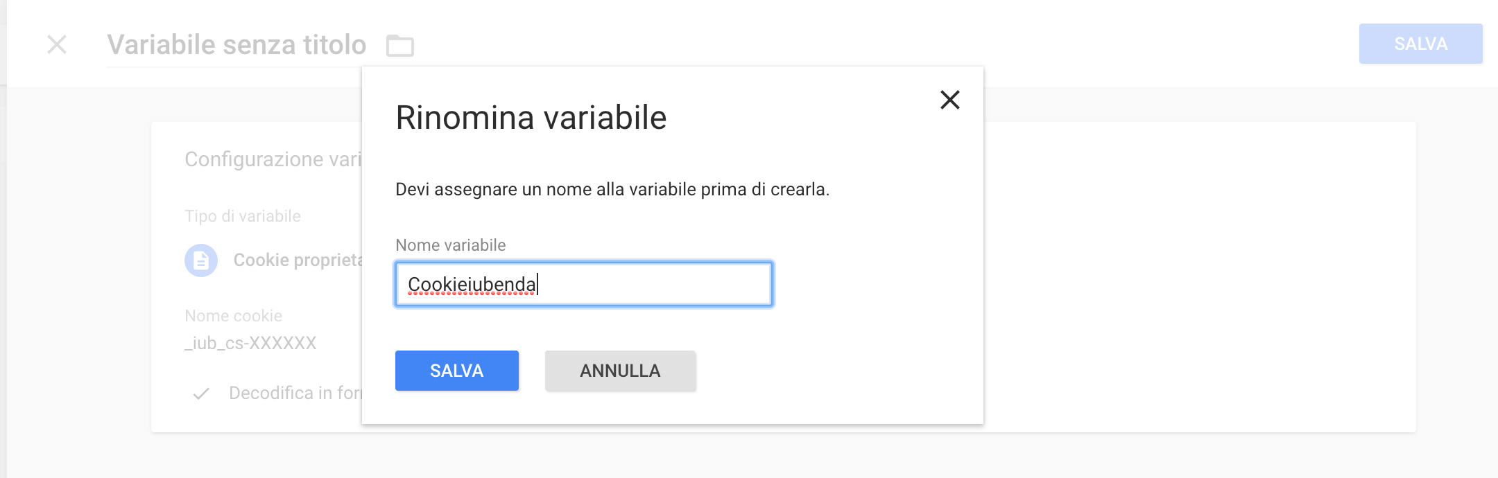 Google Tag Manager - Rinonima variabile