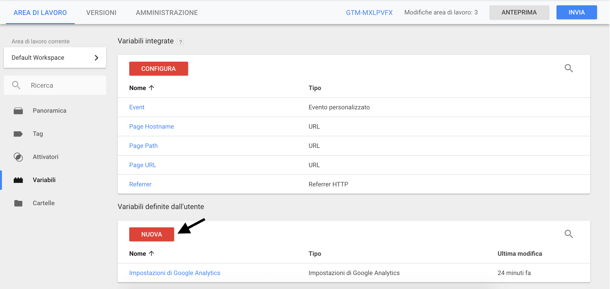 Google Tag Manager - Variabili
