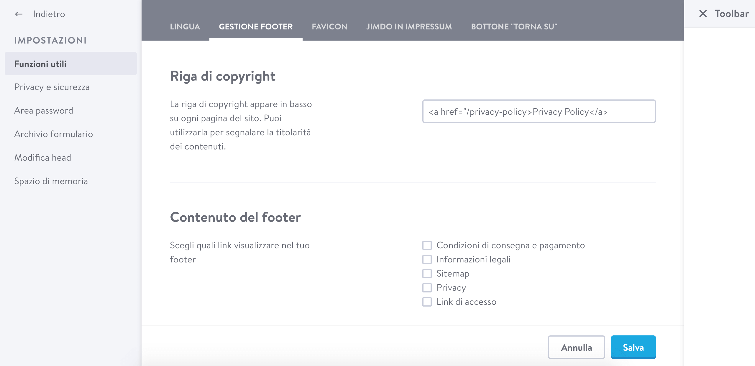 Jimdo - Link della privacy policy di iubenda a footer
