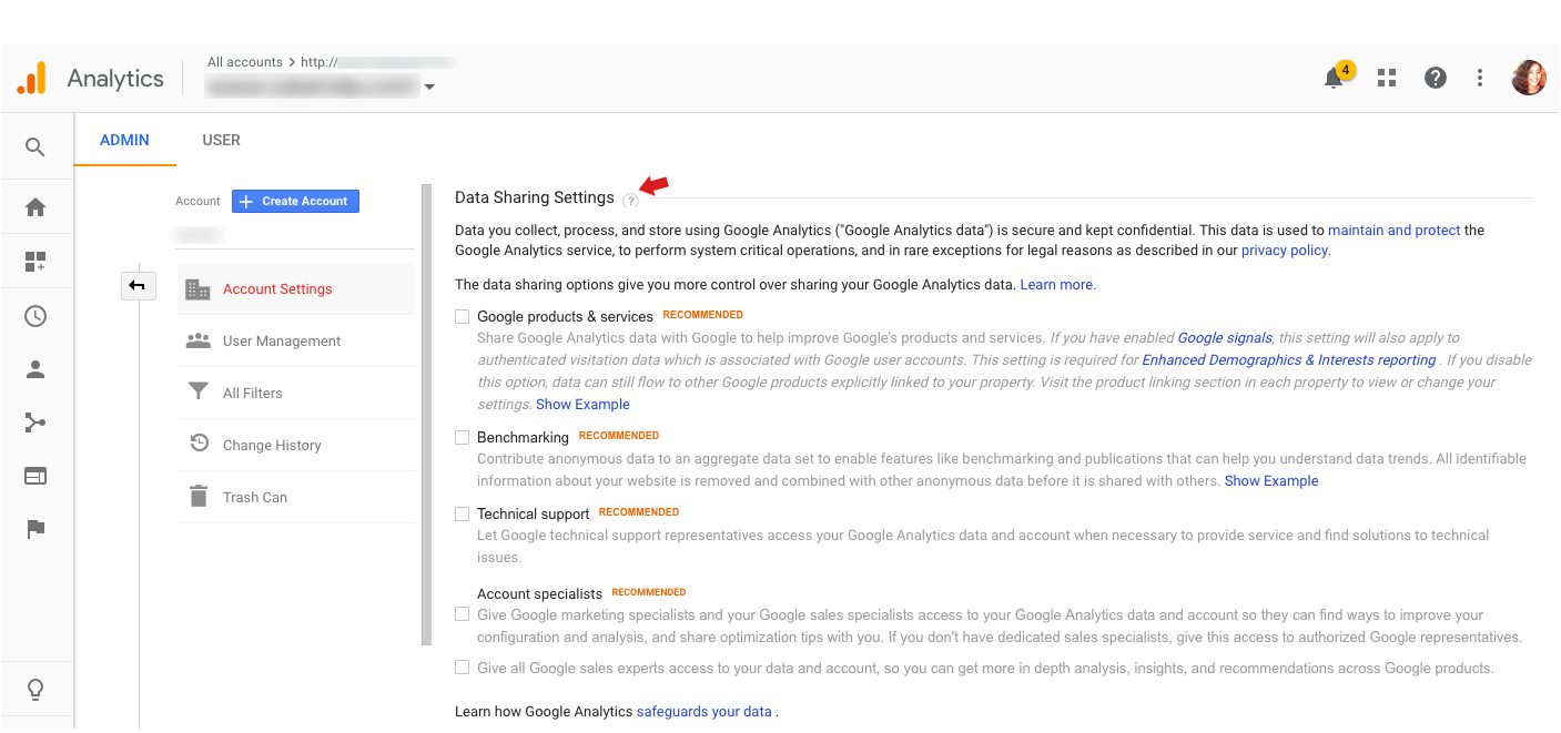 Google Analytics - Data Sharing Settings