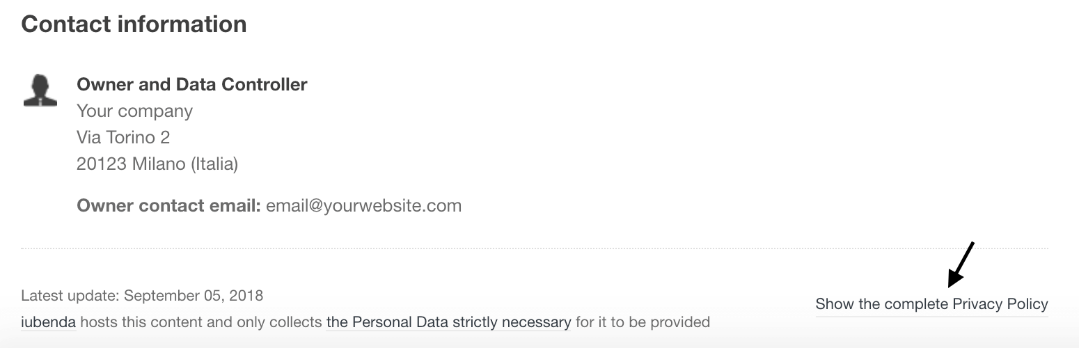 Complete Privacy Policy link inside the simplified privacy policy