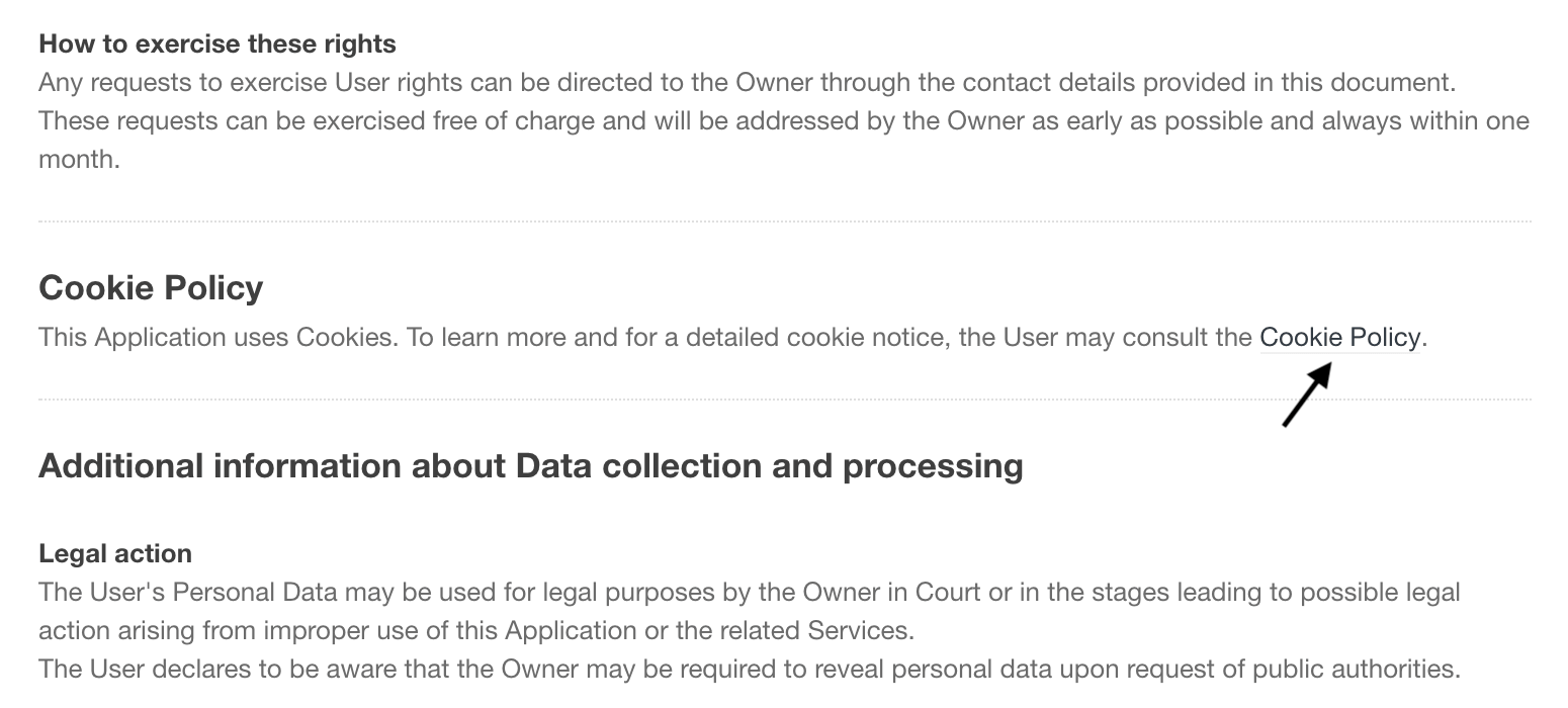 Cookie Policy link inside the complete privacy policy