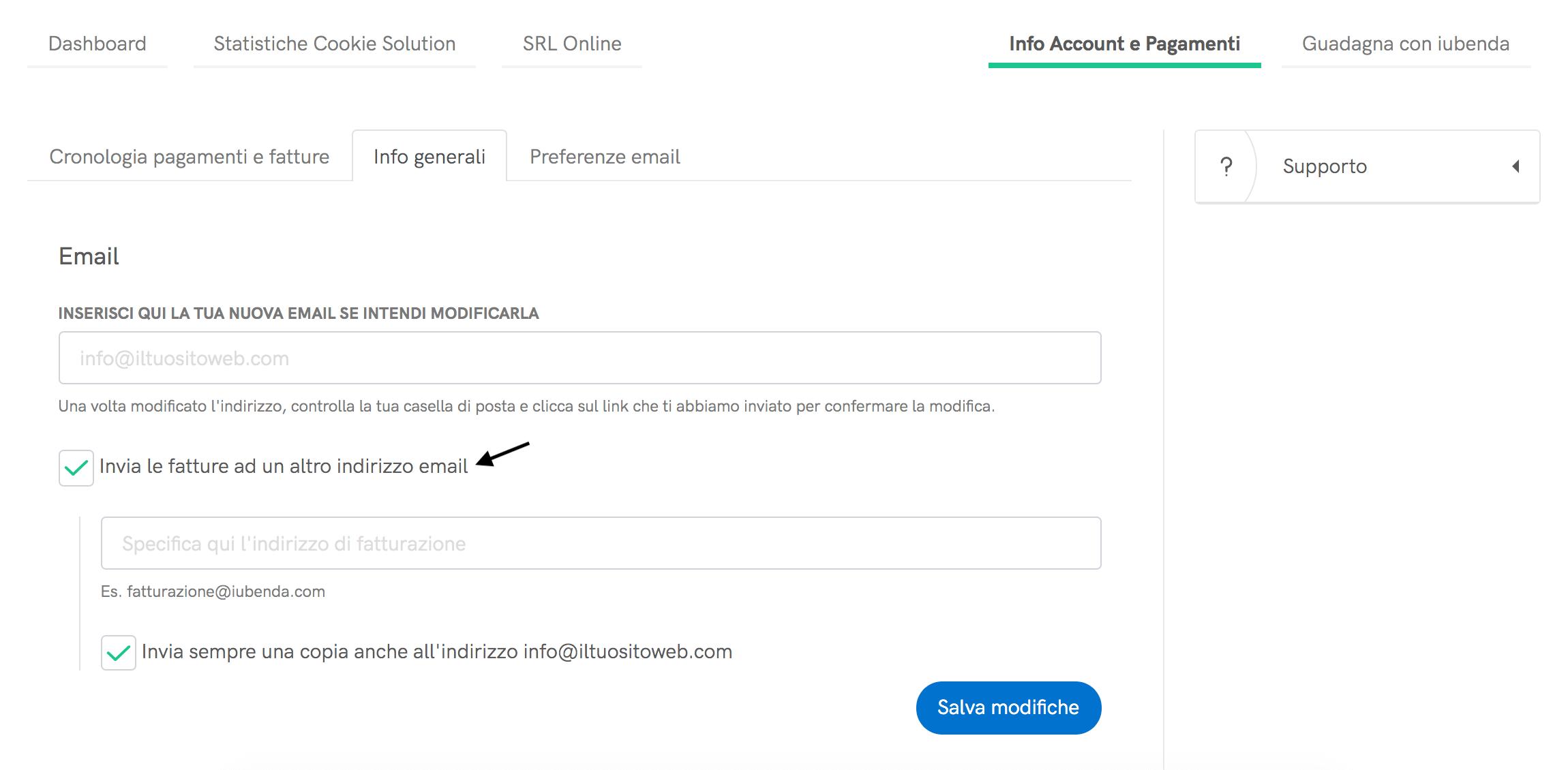 Fatture su un altro indirizzo email