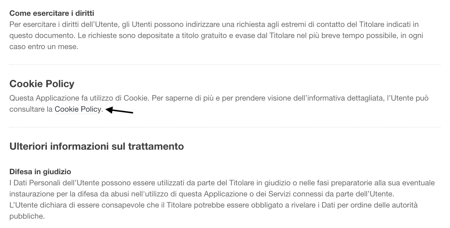 Link alla Cookie Policy (all'interno della Privacy Policy completa)