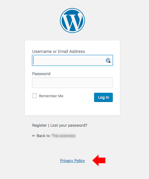 Link alla privacy policy su una pagina di login di WordPress