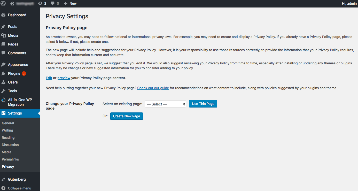 WordPress privacy settings page