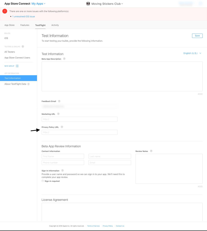 App Store Connect / TestFlight - Indirizzo della Privacy Policy