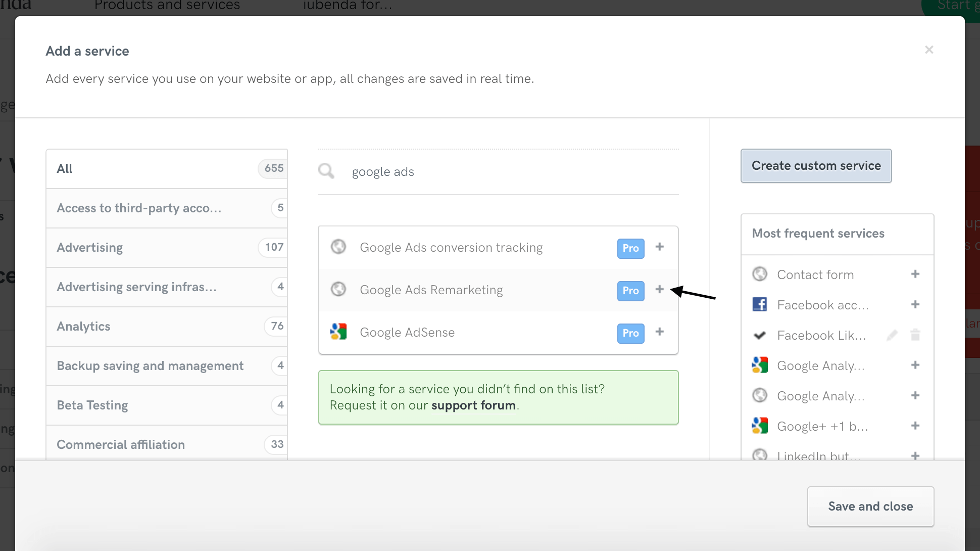 Add 'Google Ads Remarketing' service