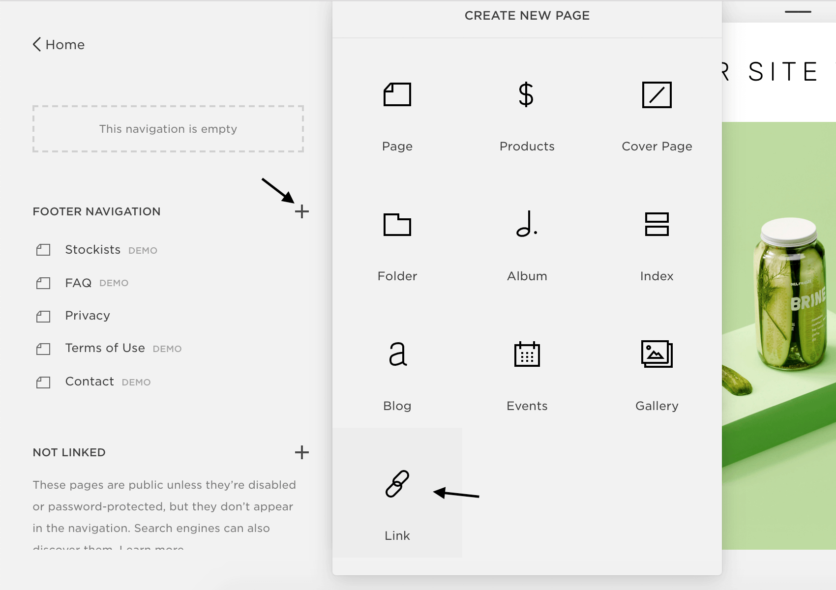 Squarespace - Create new page