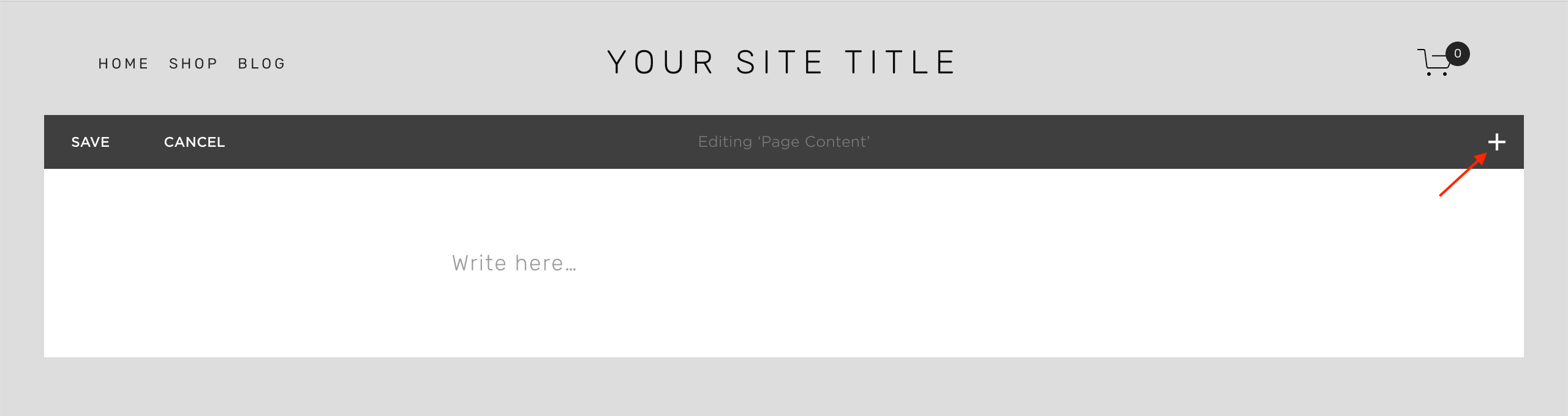 Squarespace - Add content block