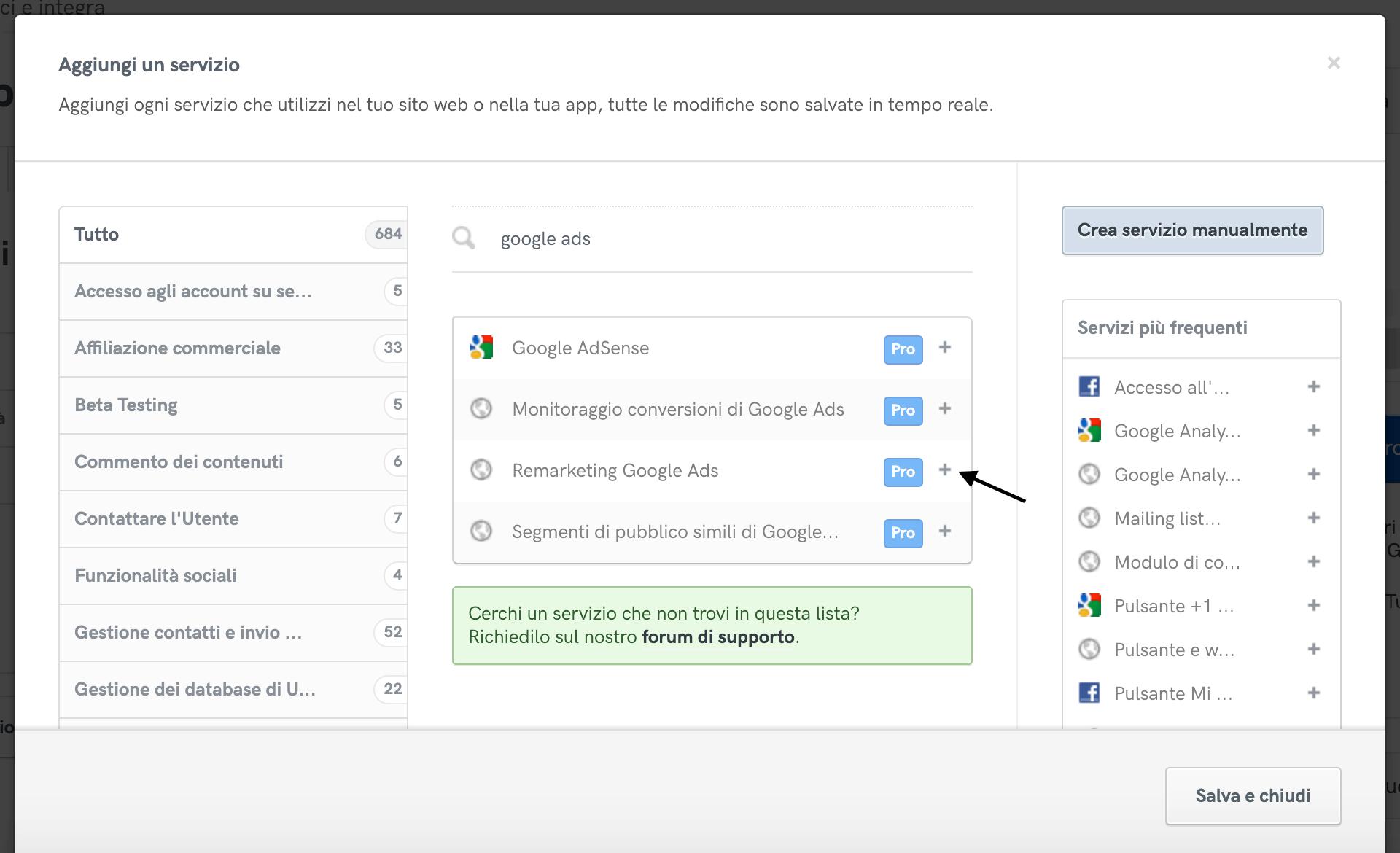 Aggiunta del servizio Remarketing Google Ads alla privacy policy