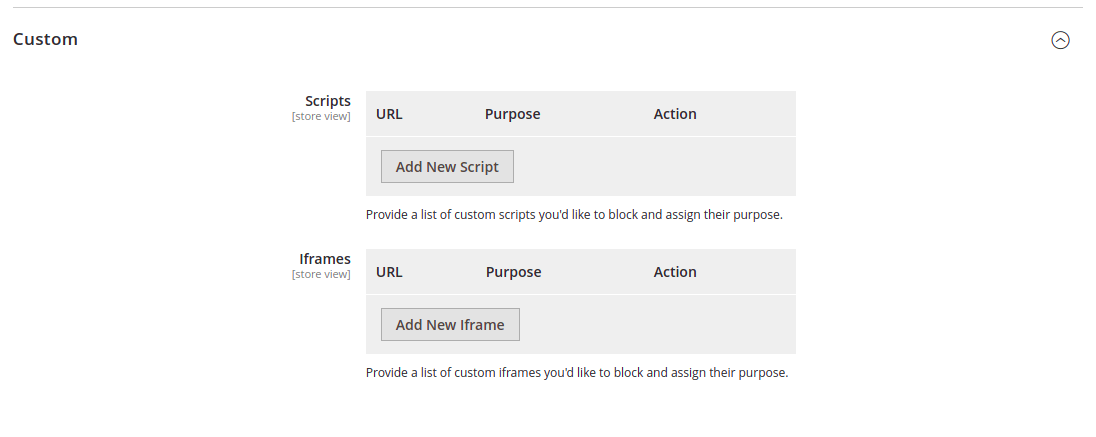 iubenda cookie solution custom scripts fields