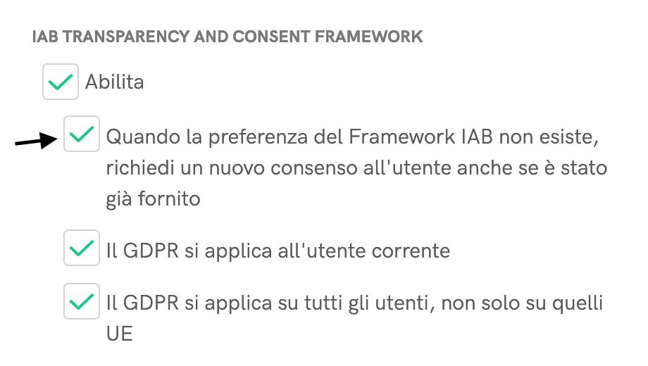IAB TCF - Richiedi un nuovo consenso