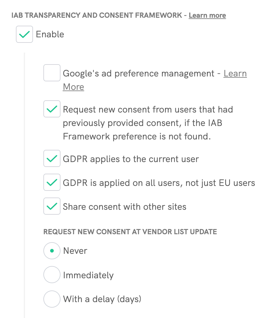 Cookie Solution - IAB Transparency and Consent Framework