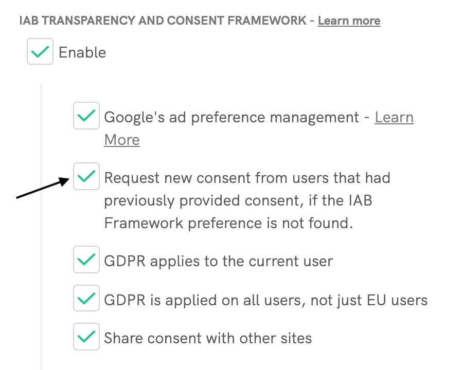 IAB Framework - Request new consent