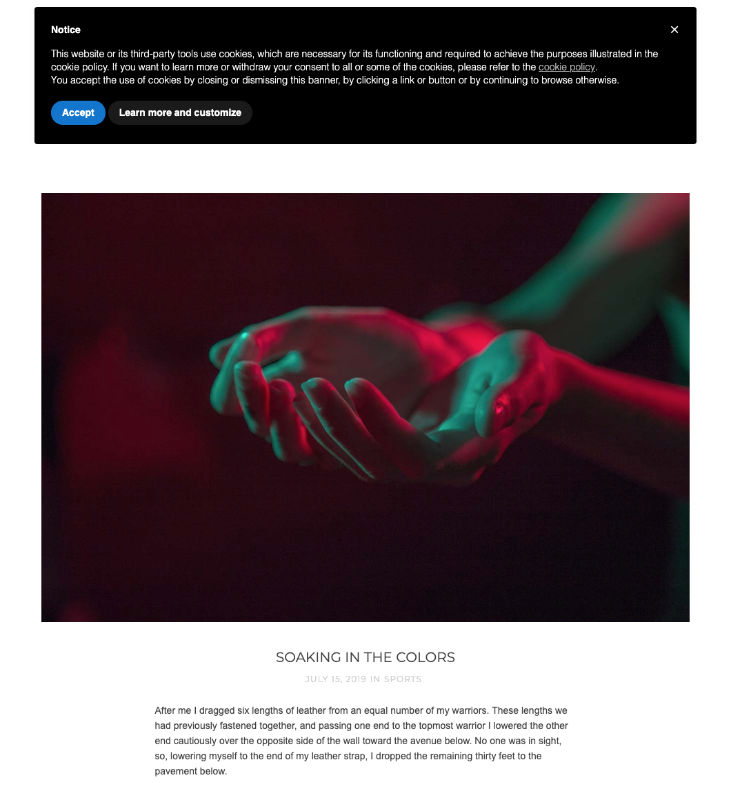 Banner de cookies de iubenda en un sitio web de Webflow