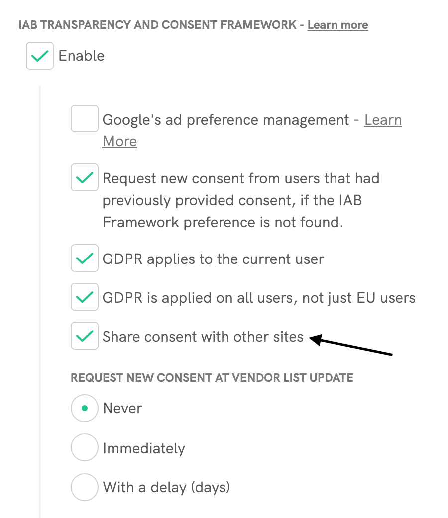 TCF share consent settings
