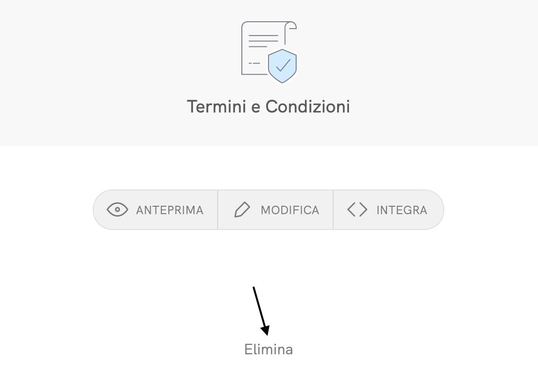 Termini e condizioni - Elimina documento