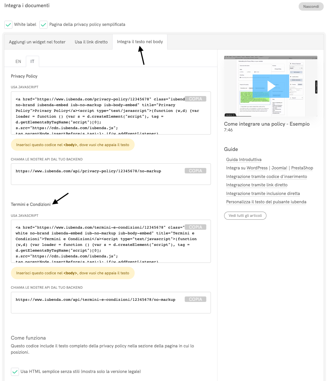 Termini e condizioni - Integrazione tramite inclusione diretta del testo