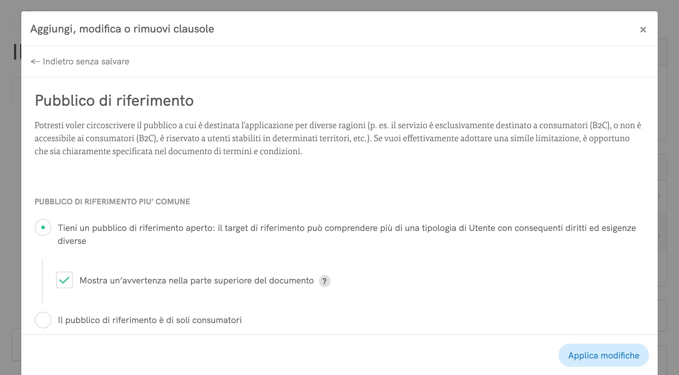 Termini e Condizioni - Personalizza clausole