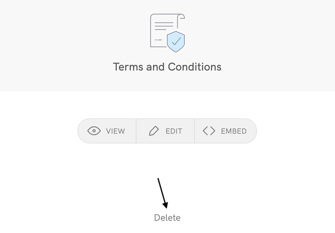 Terms and conditions - Delete
