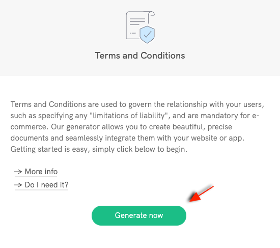 Start generating terms and conditions